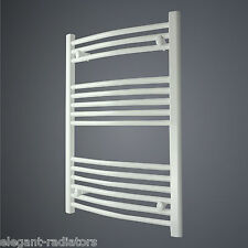 550 mm Wide 800 mm High Curved White Heated Towel Rail Radiator Bathroom Kitchen