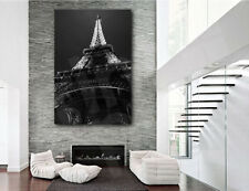 Eiffel Tower Paris France Black and White Canvas Art Poster Print Wall Decor