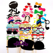 58pcs Photo Booth Props Moustache Hat Glasses Weddings Party 5set/£13 10sets/£20