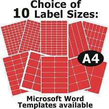 RED Laser Copier Inkjet Printer Labels 5 A4 Sheets Self-Adhesive Stickers
