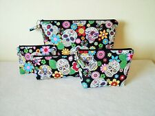 Sugar Skulls & Roses Pouches Toiletries Bag, Makeup Bag, Pencil Case, Coin Purse
