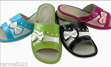 Womens Ladies Natural Leather Slippers Pink Blue Green Black Hand Made New Shoes