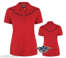 S-3XL Rot T Shirt Western Motiv Caitlin Stars and Stripes Poloshirt Country