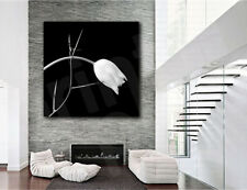 White Tulip Flower Spiked Branch Black White Canvas Poster Art Print Wall Decor