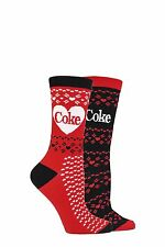 Ladies 2 Pair Coca Cola Fair Isle True Socks