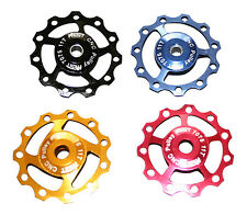ONE PAIR £13.99 11 T JOCKEY WHEEL, ANODISED ALUMINIUM,, SHIMANO XT- SRAM XO -