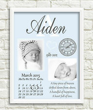 New Baby Personalised Print Newborn Gift, Birth Details, Christening, Nursery