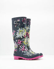 NEW! Joules Ladies Navy Lime Floral Print Wellies / Wellington Boots Size 4 - 8