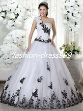 New White+black  Lace Bridal Gown Wedding Dress Stock Size 6 8 10 12 14 16