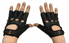 Bikeseven Cycling Short Finger Gloves/Mitts - Black Leather
