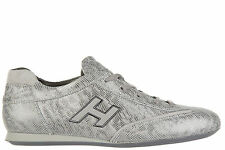 HOGAN SCARPE SNEAKERS DONNA IN PELLE NUOVE OLYMPIA H FLOCK ARGENTO DC9
