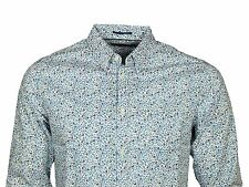 MENS SHIRT FRENCH CONNECTION 52GBQ LONG SLEEVE PATTERN WHITE BLUE RRP £34.99