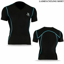 Ladies Cycling Shirt Half Sleeve MTB Off Road Cycle Top Racing Jersey - Sky Blue