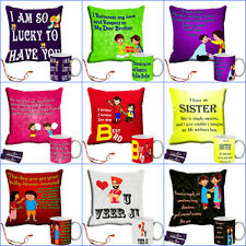 meSleep Happy Raksha Bandhan Cushion Cover and Mug Combo+ (Rakhi or chocolate)