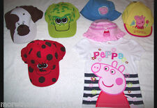 PEPPA PIG T SHIRT BASEBALL & LEGIONNAIRE CAPS ANIMAL LADYBIRD FROG DUCK 1- 8YRS
