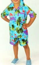 kids rare boys blue flamingo bird hawaiian matching set shirt & shorts 1-8 yrs