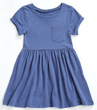 BNWT SHORT SLEEVE GIRLS JERSEY SUMMER POCKET DRESS BLUE MARL AGE 8/9 OR 10/11