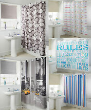 Polyester Hookless Shower Curtain 180x185cm White Blue Stripes Nautcical NewYork