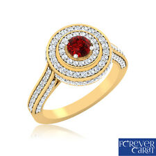 0.54 Ct Natural Diamond Real Ruby Cocktail Ring 100% 14K Hallmarked Gold Ring