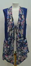 lagenlook quirky artsy sleeveless asymmetric floral jacket/tunic L,XL B: 44-46""