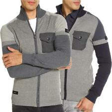 Mens Zip Through Cardigan Dissident Sergeant Cotton Casual Sweater Knitwear