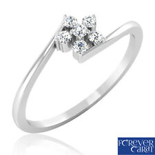 0.11 Ct Certified Natural White Diamond Camellia Ring 14K Hallmarked Gold Ring