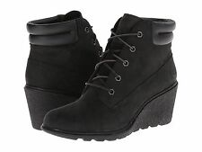 Women's Shoes Timberland Amston 6-Inch Lace Up Wedge Bootie Black 8253A *New*