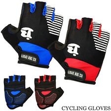Mens Cycling Gloves Half Finger Bicycle Gel Silicone Bike Fingerless Gloves