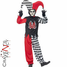 Child Blood Curdling Jester Costume Boys Halloween Fancy Dress Outfit New
