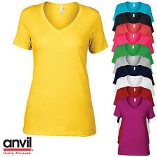 Anvil Women's Short sleeve V-Neck T-Shirt Ladies Slim Fit Plain Casual Top New