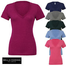 Bella+Canvas Ladies Triblend Short Sleeve Deep V-Neck Everyday T-Shirt Top New