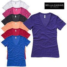 Bella+Canvas Ladies Jersey Deep V-Neck Short Sleeve T-Shirt Casual Plain Top New