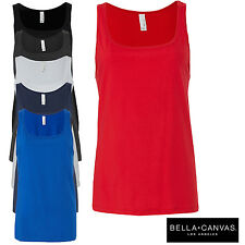 Bella+Canvas Women's Long Body Relaxed Fit Jersey Crew Neck Tank Top Ladies Vest