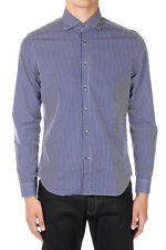 ID CORNELIANI New Men Blue Checked Cotton shirt Made in Italy