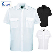 Premier Men's Short Sleeve Pilot Shirt Work Business Security Smart Tabs Top New