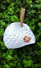 Newborn Baby Hat white crocheted with wooden floral button hand made acrylic