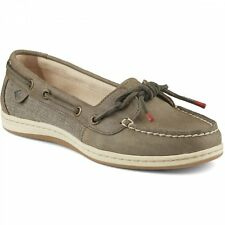 Sperry Top Sider BARRELFISH Womens Taupe Leather Slip On Casual Moc Boat Shoes