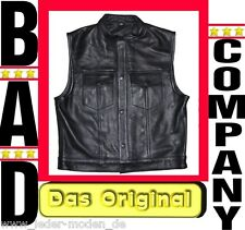 BAD COMPANY Anarchy Kutte Lederweste Weste Mod. Billy schwarz  Bikerweste TOP