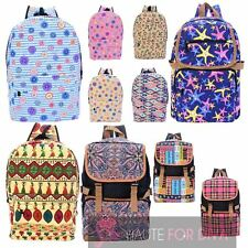 GIRLS WOMENS COTTON ETHNIC SEASIDE PRINT SPACIOUS BACKPACK SCHOOL BAG RUCKSACK
