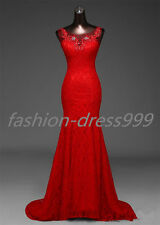 New Red lace  Mermaid Wedding Dress Bridal Gown Stock Size: 6-8-10-12-14-16