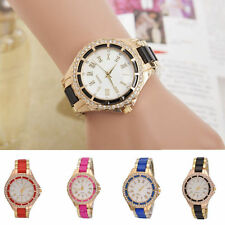 New Women Ladies Fashion Roman Number Analog Stainless Steel Quartz Wrist Watch