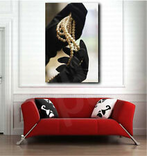 Black Gloves and White Pearls Necklace Art Canvas Poster Print Home Wall Decor