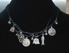 Pilgrim Silver Charms Choker Necklace with Black Rope Chain