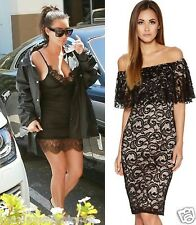 New Women Kim Kardashian Celeb Lace Cami Bodycon Ladies  Dress Top UK 8 10 12 14