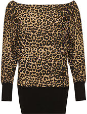 Womens Plus Leopard Batwing Top Long Sleeve Animal Print Bodycon Stretch Ladies
