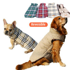 Pet Dog Padded Reversible Plaid Soft Jacket Coat Winter Warm Clothes Vest Red