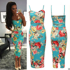 Womens Celeb Green Floral Print Strappy Slit Back Bodycon Pencil Midi Dress 8-14