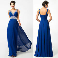 Long Chiffon BEADED Bridesmaid DRESS Formal Holiday EVENING Gown Ball PARTY Prom