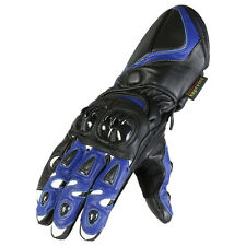 Navy & Black Protective Cowhide Leather Motorcycle Gloves Sizes S-XL