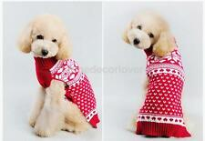 Christmas Snowflake Spotted Dog Pet Knitted Sweater for Pet Dog Red XXS-M
